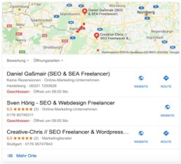 Google My Business Eintrag in den SERPs