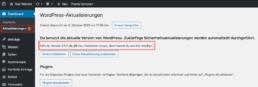 WordPress Versionsnummer bei den Aktualisierungen