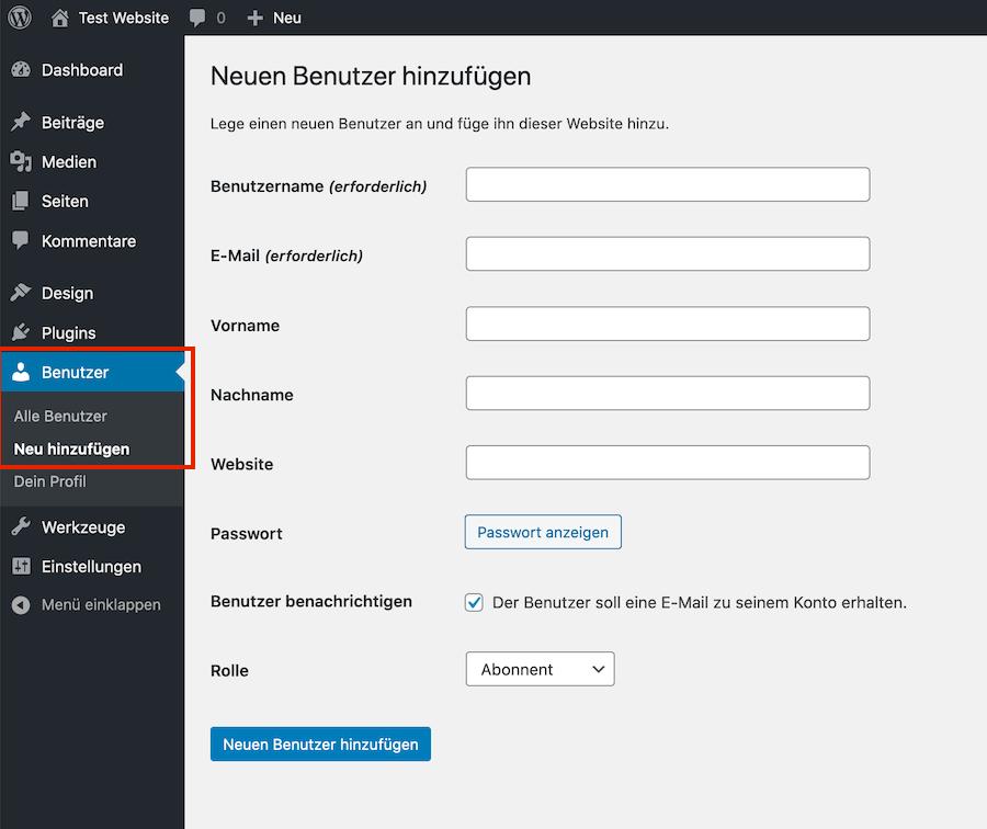 Screenshot WordPress Benutzer anlegen