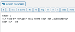 line break in WordPress Editor Text eingefügt
