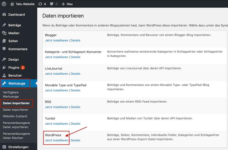 WordPress Importer installieren