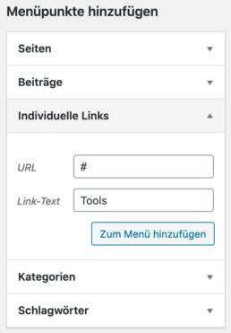 WordPress Menü individuelle Links erstellen