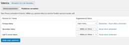 WordPress Menü Position festlegen